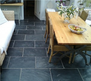 Natural stone kitchen floor