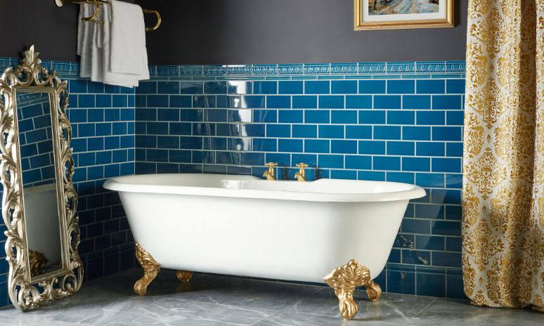 Original Style Artworks Baroque Blue Bathroom Wall Tiles