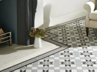 Blenheim Pattern Black White And Grey Victorian Floor Tiles In Living Room
