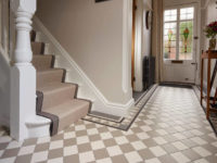 Oxford Dover White & Holkham Dune With Woolf Based Border Small Square Tiles In Entrance Hall