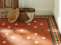 Orange. Black And White Harrogate Pattern Victorian Floor Tiles In Entrance Hall