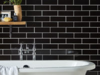 Jet Black Porcelanosa Wall Tile In Bathroom With Contrasting White Bath Tub