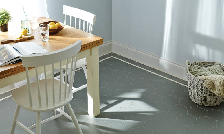 Charcoal Grey Buckfastleigh Pattern Victorian Tiles In Kitchen