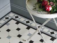 Black, White And Grey Conrad Border With Nottingham Pattern Victorian Floor Tiles