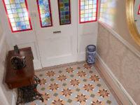 Victorian Hallway Tiles - Blenheim Grey & Telford Border