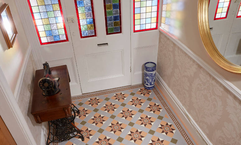 Blenheim Grey & Telford Border Victorian Floor Tiles In Entrance Hall