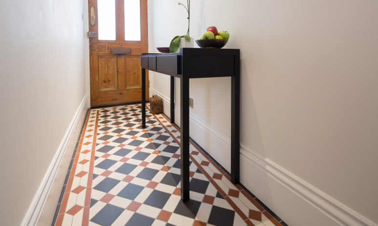 Falkirk Black Red & White With Clare Based Border Victorian Floor Tiles In Hallway
