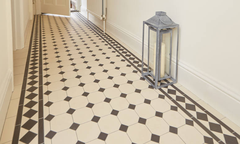 Harrogate Black & White with Kingsley border Victorian style hall tiles