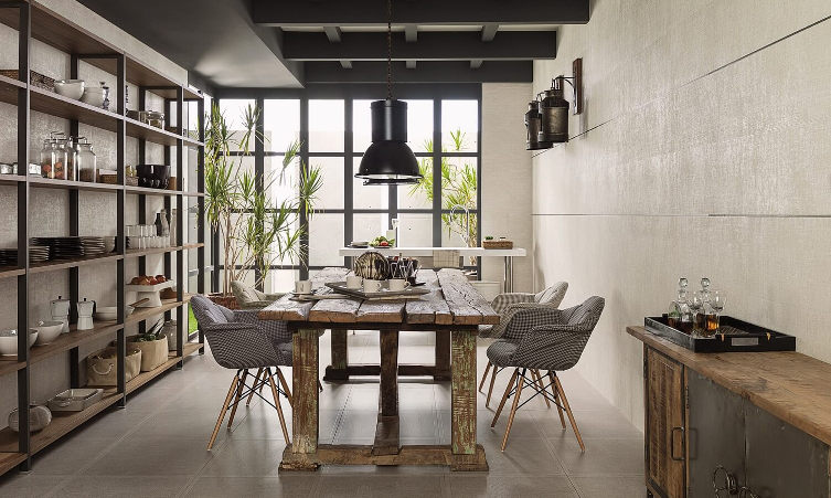 Porcelanosa Wall And Floor Tiles In Rustic Dining Room