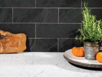 Black Slate Rectangular Wall Tiles In Kitchen