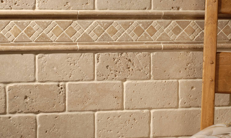 Travertine Original Style Earthworks Mosaic Borders Wall Tiles - Kalahari With Leventine Ivory