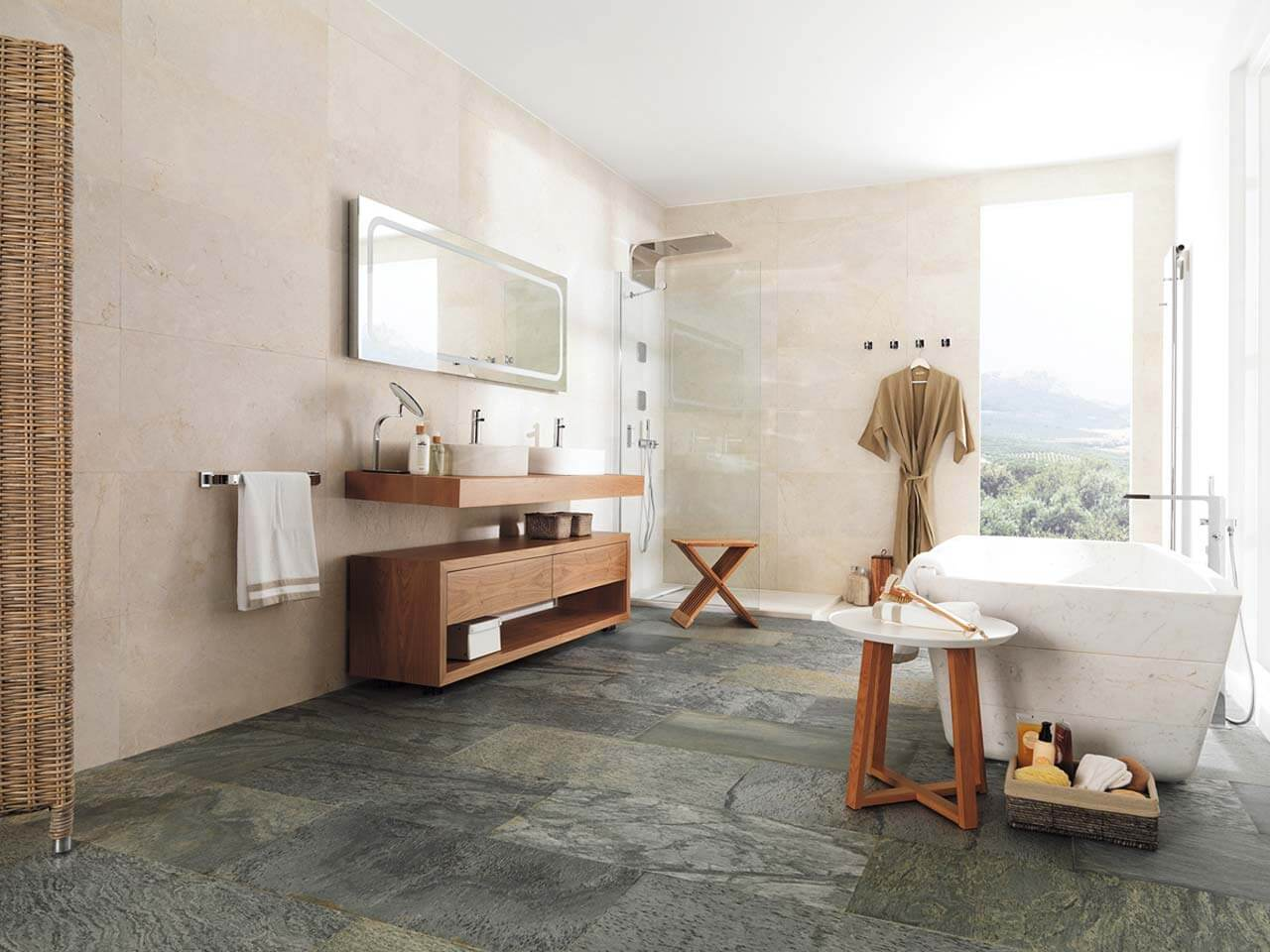Natural slate flooring in bathroom
