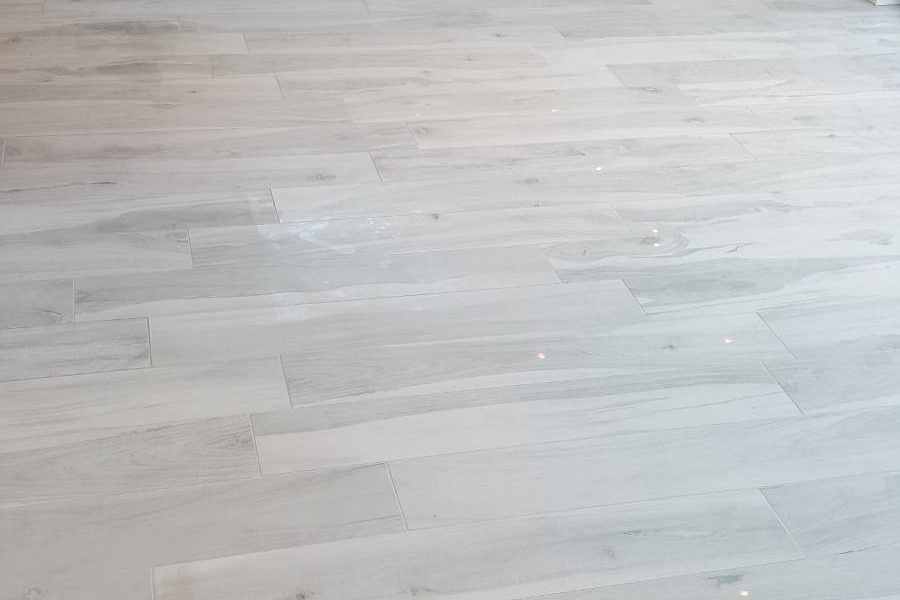 Wood Effect Porcelain Floor Tiles In Dining Room