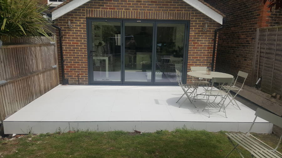 Porcelain Tiled Raised Patio Area
