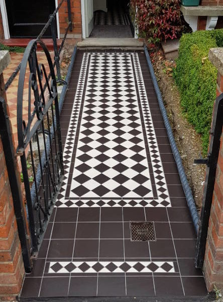 Outdoor Monochrome Victorian Tiled Entrance Pathway To Front Door