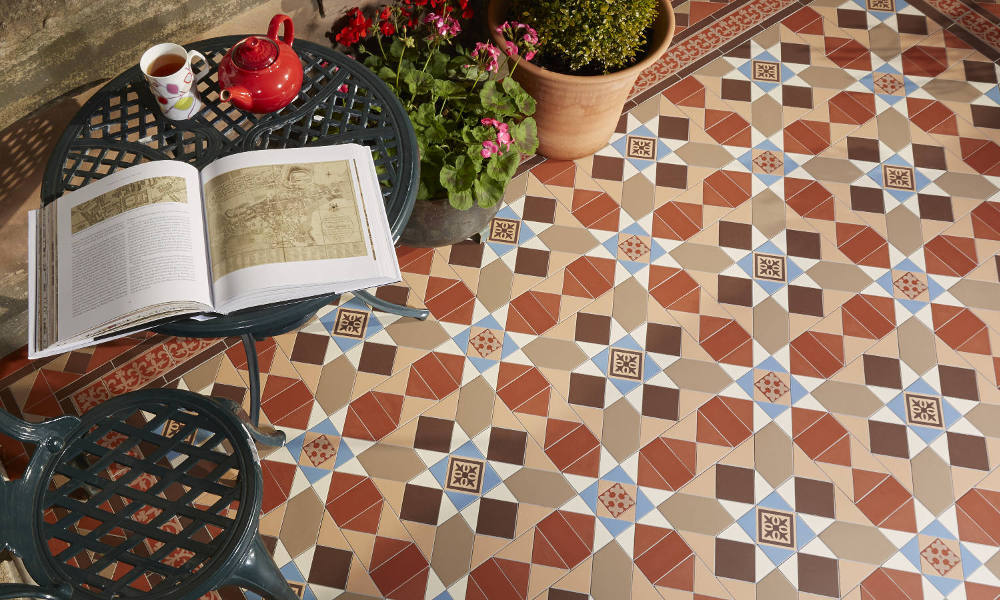 Warm Coloured Victorian Tiled Patio Area